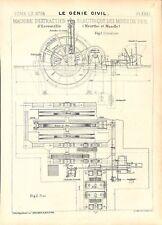 Plan coupe Machine Extraction électrique des mines de fer Génie civil 1911-1912