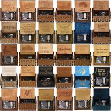 Di Legno Carillon Antico Mano Manovella Inciso Giocattoli Bambini Natale Regalo