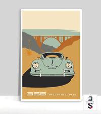 "356 Porsche Bixby Bridge, California Highway 1. Poster Aluminum 24 ""x 36"""