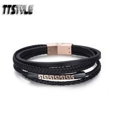 TTStyle Black Leather Rose Gold Greek Key ID S.Steel Buckle Wristband NEW