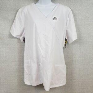 B Scrubs Brand Uniform Scrubs NWT Solid White 1XL 3 Pockets Side Slits at Waist