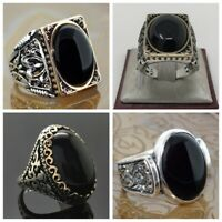 Vintage 925 Silver Black Sapphire Ring Wedding Enagement Women Jewelry Size 6-10