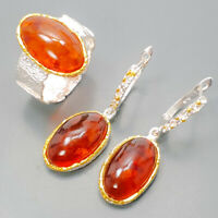 Amber Ring Silver 925 Sterling SET Fine Art Size 9.5 /R129176