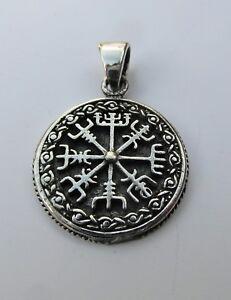 Sterling  Silver  (925)  Vegvisir  Asatru  Compass  Pendant   !!         New !!