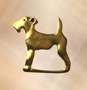 Antique Gold Plated Irish Terrier Dog Glasses Holder Brooch Pin Spectacle Hanger