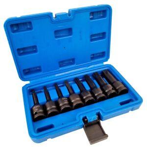 "Set chiavi bussole torx attacco 1/2"" T30 T80 a impatto lunghe 80mm 07049"