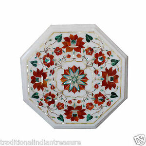 "12"" Marble Coffee Table Top Carnelian Malachite Inlay Floral Arts Bedroom Decor"