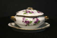Bone China Lidded Mustard Pot with Attached Underplate Purple Violets Gold JAPAN