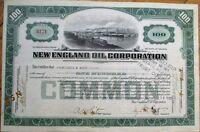 'New England Oil Corporation' 1922 Stock Certificate - Virginia VA - Green