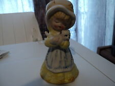 Vintage Porcelain girl bell  Yellow dress Very nice with kitten  No markings