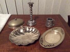 5 Silver Coloured Metal Vintage Items Candlestick 2 Dishes Cup And Lid