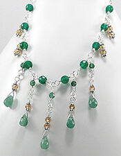 "16""-18"" Solid Sterling Silver Green Aventurine Dangle Necklace 19.4g"