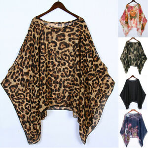 Lagenlook Chiffon Blouse Plus Size Ladies Baggy Batwing Sleeve Tunic Tops Shirt
