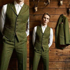 Olive Green Men's Suits 3 Piece Wool Blend Check Plaid Prom Party Suit Tailored