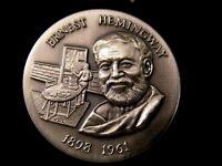 The Ernest Hemingway Silver Medal, 1954 Nobel, Gorgeous Deep Engraving 1.1+ Ozt