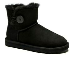 New Womens UGG Mini Bailey Button 3352 W Boots Black Size UK 4.5