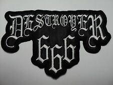DESTROYER 666  WHITE SHAPED LOGO    EMBROIDERED PATCH