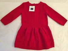 Janie and Jack Red Holiday Baby Grils Sweater Dress Hat 6-12 Months ~NWT~