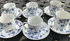 Chinese Blue And White Butterflies & Branches Qianlong Nian Zhi Coffee Cups X6.