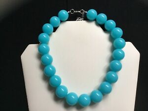 Women's Chunky Fluorescent Aqua Blue Bead Choker Necklace