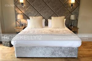 Crushed Velvet Elasticated Bed Valance | Divan Base Cover | Bed Wrap - ALL SIZES