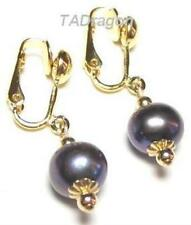 8-9mm Genuine AAA Black Pearl 18K YGP Clip On Earrings
