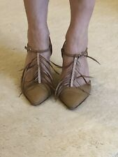 Auth Manolo Blahnik Vintage Satin Feather Strap Shoes 38.5 Uk 6, More Like 5.5