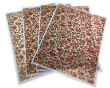 "Vellum Sheets Custom Print, Floral Pattern 8.5"" x 11"" Lot of 4 Not Folded NEW"