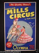 Paulina Schumann with Bertram Mills Circus of England Original 1950's Poster
