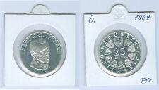 """Österreich 25 Schilling 1964  """"Franz Grillparzer""""  Silber PP"""