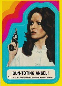 1977 CHARLIE'S ANGELS SERIES 3  SINGLE STICKER #31 GUN-TOTING ANGEL!