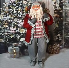 Gorgeous Old World LIFE SIZED Santa Detailed 5' Tall Nordic w Snowshoes