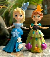 "Set of 2 DISNEY PRINCESS FROZEN ANNA & ELSA 3"" Interactive DOLLS GIFTS FOR GIRLS"