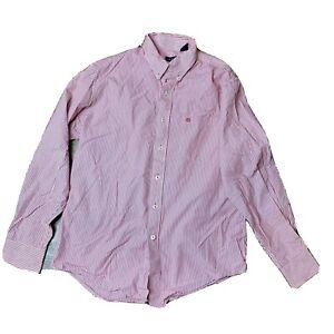 Izod Men's Red/White Striped Long Sleeve Button Down Shirt Sz M