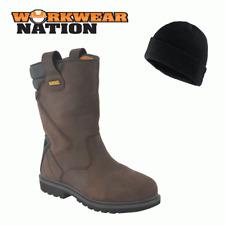 New Dewalt Rigger 2 Leather Workwear Dealer Shoe Boot Steel Toe Brown FREE HAT