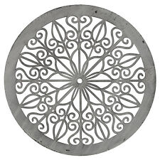 Decorative Circle White Wash Metal Wall Art 50cm Hanging Sculpture Round Panel
