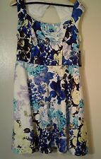 NEW NY&C Fit And Flare Dress Petite Floral Sleeveless Open Back NWT Size 14 P