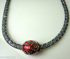 """NECKLACE WITH BLING 19"""" LONG WITH RED GOLD AND SILVER BEAD"""