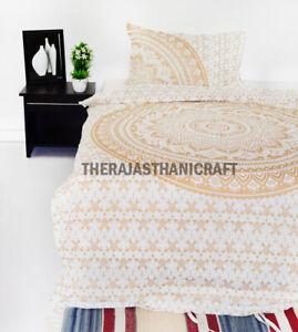 Indian duvet Doona Cover Cotton White Gold Ombre Mandala Comforter Cover Set