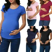 Women Pregnant Maternity Clothes Nursing Tops Breastfeeding Loose Blouse T-Shirt