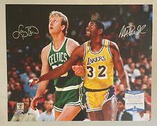 Magic Johnson & Larry Bird Signed 16x20 Photo Beckett BAS WITNESSED COA HOF