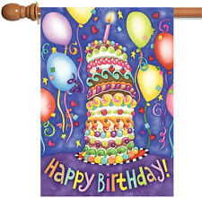 NEW Toland - Happy Birthday - Colorful Cake Candles Balloons House Flag
