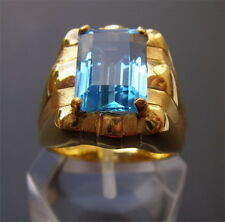 Men's 18K Solid Gold Natural Blue Topaz  Ring