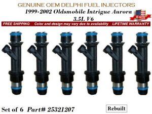set/6 Fuel Injectors Oldsmobile Aurora 3.5L V6 2002 OEM Delphi