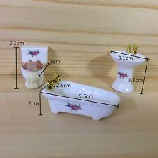 3PCS 1/24 Dollhouse Miniature Bathroom Set Porcelain Bathtub Toilet Sink Grass