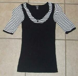 MAURICES Black Jr Medium 7 / 8 Stretchy Ribbed Layer Look Short Sleeve Sweater