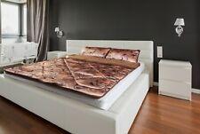 PREMIUM GOLD BEDDING MERINO WOOL CAMEL & SATIN  DUVET OVER BLANKET Bedspread