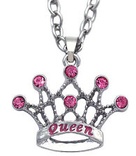 QUEEN Word Crown Tiara Pendant Necklace Valentine's Day gift for Wife Mom n2073q