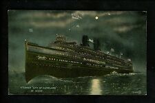 Ship postcard Excursion City of Cleveland steamer at night Detroit Navigation Co