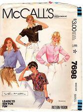 McCall's 7698 Misses' Classic Shirt Blouse Van-Martin Size Small UNCUT FF